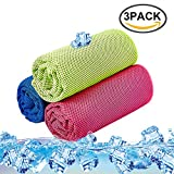 Cool Towel 3 Pack Instant Cool Ice Towel Gym Quick Dry Towel Microfibre Towel Cooling Sports Towel for Golf Swimming Yago Football Running Workout (Rose Green Blue,36 x 12 Inch)
