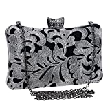 GXYCP Clutch Bag For Women Hand Bag For Dinner Party Wedding Embroidery Wallet Fashion Shoulder Bag,Silver