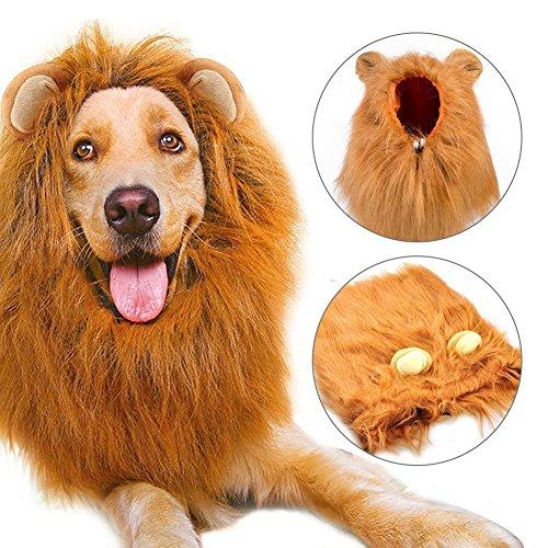 Hund Löwe Mähne, Bliplus Groß Pet Hund Katze Löwe Perücken Mähne Haar mit Ohren für Festival Party Kleidung Schals Kostüm Hund