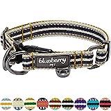 Blueberry Pet 2cm M 3M Reflektierendes Bunt Gestreiftes Olivgrün und Graublaue Hundehalsband für Mittelgroße Hunde