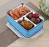 mdrw-304Edelstahl Double Layer Student Erwachsene Lunchbox Kinder Mikrowelle Erwärmung Box blau