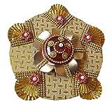 Anaya Industries Acrylic Haldi Kumkum Pooja Thali Rakhi Thali (20 cm x 1 cm x 20 cm, Golden, Set of 2)