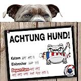 Hunde-Warnschild Schutz vor Bayern-Fans | BVB 09-, 1. FC Schalke- & alle Fußball-Fans, Dieser Revier-Markierer schützt Haus & Hof vor Bayern-Fans | Spaßgarantie | Achtung Vorsicht Hund Bissig | Vors