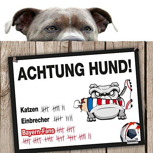 Hunde-Warnschild Schutz vor Bayern-Fans | Dortmund 09-, 1. FC Schalke- & alle Fußball-Fans, Dieser Revier-Markierer schützt Haus & Hof vor Bayern-Fans | Achtung Vorsicht Hund Bissig -