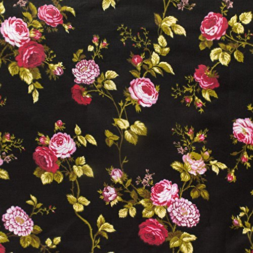 Rose Floral Cotton Fabric (Floral Rose Poly Cotton 60 Inch (Black) by The Fabric Exchange)