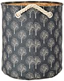 Miamour Tree Design Fabric Laundry Hamper, Small, Grey