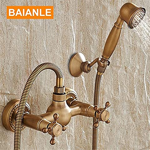 NIHE Wall Mounted Antique Brass Shower Set taps+Bath Tub Mixer Tap+Double Handles Hand Held Shower Head Kit Shower taps