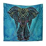 QEES Böhmischer Wandteppich Elefant Wandbehang Indischer Stil Hippie Schönes Wandtuch Tischdecke Strandtuch Vorhang Mehrzweck Tuch Einzigartiges Design (HYGT10-elephant 10)