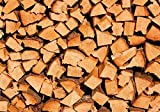 Wallario Wand-Bild 70 x 100 cm | Motiv: Holzstapel gehackt - Holzscheite für den Kamin | Direktdruck auf 5mm starke Hartschaumplatte | leichtes Material | günstig