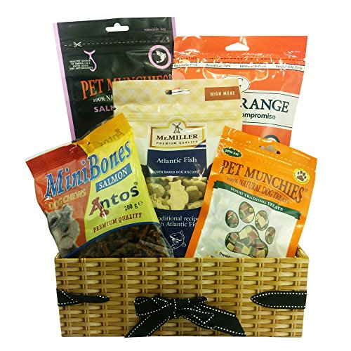 Dog Birthday Gift Basket - A dog gift hamper with fish treats. The hamper contains Arden Grange Salmon Treat, Pet Munchies Salmon Fillets, Mr Miller Atlantic Fish Dog Biscuits, Pet Munchies Natural Sushi Training Treats, Antos MiniBones Salmon Dog Treats.