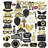 Foto Stand Requisiten, 46 Stück Frohes Jahr Party-Deko-Kit Wiederverwendbar und robust mit Stöcken, Brillen, Schnurrbärten, Hüte für Hochzeit Geburtstag Neujahr Party Favors