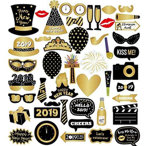 Foto Stand Requisiten, 46 Stück Frohes Neues Jahr Party-Deko-Kit Wiederverwendbar und robust mit Stöcken, Brillen, Schnurrbärten, Hüte für Hochzeit Geburtstag Neujahr Party Favors (Für Requisiten Ein Foto-stand)