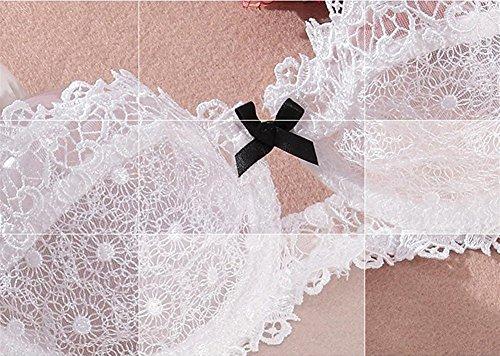 Nature Damen Dünnn Transparenten Spitzen Balconette BH Set Weiße