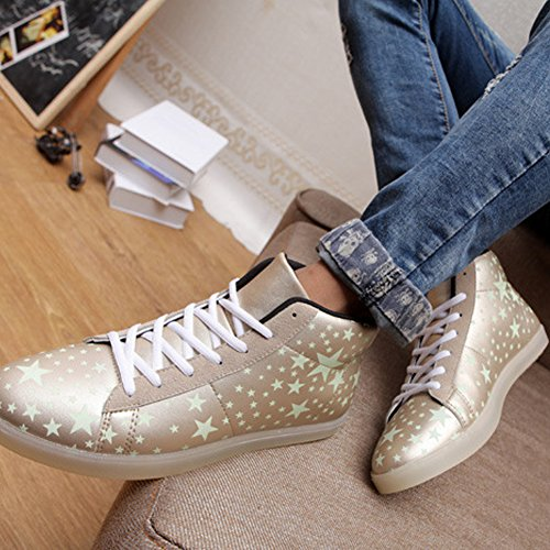 Moollyfox Unisexe Solide Couleur High Top LED Lumières Chaussures gold