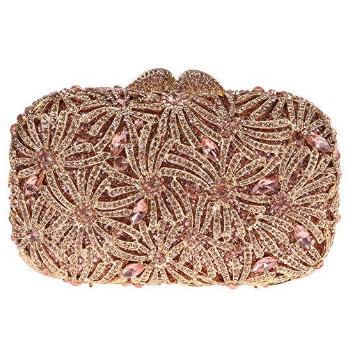 Bonjanvye Bling Studded Rhinestone Fireworks Crystal Clutch Bag for Evening Party Gold Rose gold