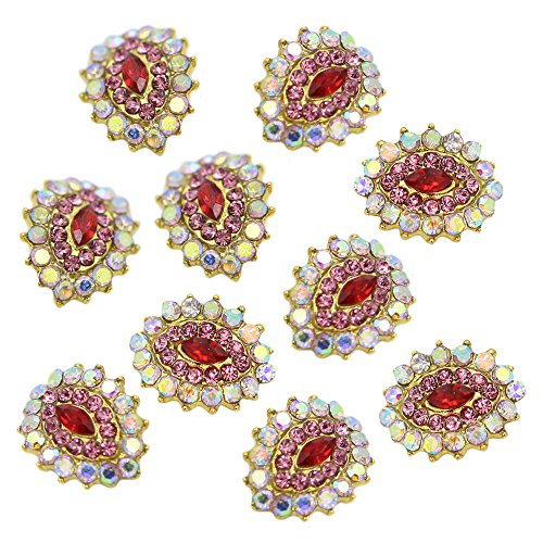 Sanwood 10 Stk 3D Kristall Strassstein Legierung Nagel Kunst Glitter Aufkleber DIY Dekoration (Type 2) -