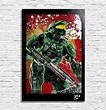 Master Chief aus dem HALO Videospiel - Original Gerahmt Fine Art Malerei, Pop-Art, Poster, Leinwand, Artwork, Film Plakat, Leinwanddruck, Science Fiction