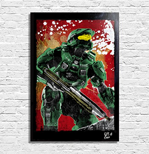 HALO Videospiel - Original Gerahmt Fine Art Malerei, Pop-Art, Poster, Leinwand, Artwork, Film Plakat, Leinwanddruck, Science Fiction (Halo Spartan Rüstung)