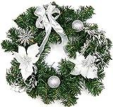 Türkranz Weihnachtskranz Adventskranz Weihnachtsdeko Weihnachten 4 Farben (Silber)