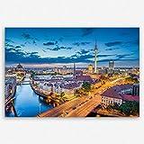 ge Bildet hochwertiges Leinwandbild XXL - Berlin Skyline - Deutschland - 120 x 80 cm einteilig | Wanddeko Wandbild Wandbilder Wohnzimmer deko Bild | 2211 A