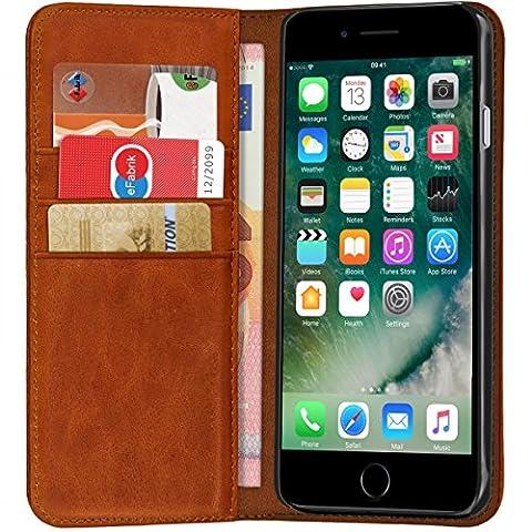 ROYALZ Tasche für Apple iPhone 8 / iPhone 7 Ledertasche Lederhülle Hülle Book Cover Case Tasche Schutzhülle Schutztasche Handyhülle mit unsichtbarem Magnet Standfunktion Kartenfach Vintage Leder, Farbe:Cognac (Tasche Magnete)