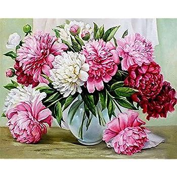 mit Rahmen WOWDECOR DIY Malen nach Zahlen f/ür Erwachsene Kinder M/ädchen Schmetterlingsliebe Blume Lila Romantisch 40x50cm Vorgedruckt Leinwand-/Ölgem/älde
