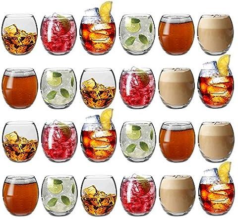Verres à eau / à whisky / à jus de fruits d'Argon Tableware - Coffret-cadeau de 24 verres - 405ml (14oz)