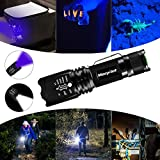 Torcia Tattica UV 2 in 1, Torcia a LED con 500LM, Torcia UV di 395 NM, 4 Modalità, Morpilot, Fatto di Alluminio, Impermeabile IPX4, Zoom in/out, Anti-caduta, 3 Batterie AAA Incluse per Campeggio