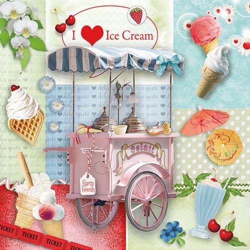 I love Ice Cream Design Servietten 3-lagig, 33cm, 20Stück (Ice Cream-servietten)