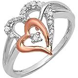 Anillo de compromiso de plata de ley y oro rosa de 0,13 quilates con diamante de corte redondo y corazón doble de dos tonos