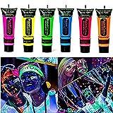 GARYOB UV-Bodypaint Körpermalfarben Schwarzlicht für Body und Facepainting fluoreszierende knalligen Schminke Bodypainting Neon Farben Set von 6 Tubes