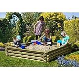Sandkasten 180x180 cm aus Rundholz  10 cm mit Deckel aus Holz von Gartenpirat