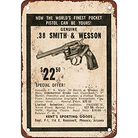 Smith & Wesson .38 ad correo para reproducción de aspecto Vintage Metal Sign