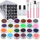 Lictin Glitzer Tattoo Neues Glitzer Tattoo Set mit 24 Glitzertuben 117 Schablonen Temporäre Tattoos...