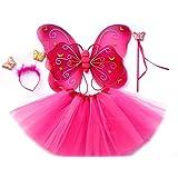 Tante Tina Schmetterling Kostüm Mädchen - 4-teiliges Mädchen Kostüm Schmetterling mit Tüllrock , Flügel , Zauberstab und Haarreif - Fuchsia - geeignet für Kinder von 2 bis 8 Jahren