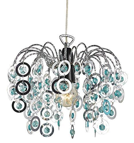 Moderner Chrom Wasserfall Kronleuchter leichte Montage Hngelampenschirm mit blaugrne Acryl Perlen von Haysoms (Teal Interior Design)
