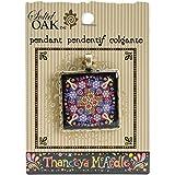 Solid Oak Madera de Roble Maciza Thaneeya (R) LLC Acrílico Cuadrado Colgante Flor Mandala con Negro, acrílico,, 3Piezas