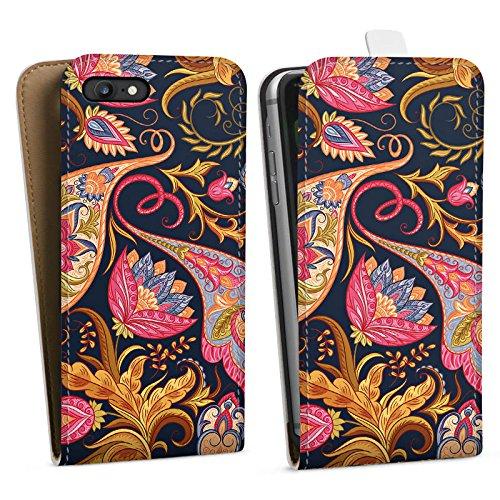 Apple iPhone 6s Plus Silikon Hülle Case Schutzhülle Herbst Muster Floral Downflip Tasche weiß