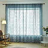 Embroidery Flower Curtain Window Screening Tulle Sheer Room Decor(Blue)