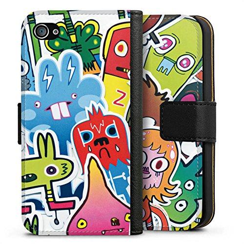 Apple iPhone X Silikon Hülle Case Schutzhülle Sticker Muster 90s Sideflip Tasche schwarz