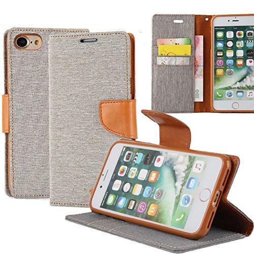 iPhone 8 / 7 Hülle Leinwand Flip cover Schutz [Magnetische Verschluss] REXANG [Brieftasche und Kartenslots] Bookstyle Tasche [mit Stand Funktion] Leder TPU Taschen Schalen für iPhone 7 / 8 (Bankett-tasche)