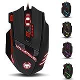 zelotes T90 Gaming Mouse 9200 DPI, 8 knoppen Multi-Modes LED verlichting USB Gaming Muizen, Gewicht Tuning voor Laptop, Deskt