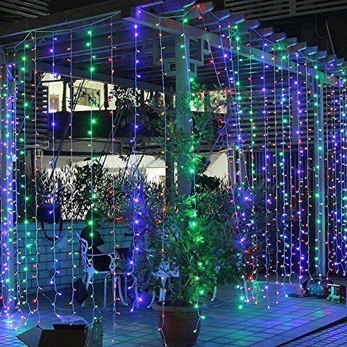 WYBAN 3 x 3M 300 LEDs RGB Lichterkette Helles Lichterkette Außenbeleuchtung für Gartendekorationslichter/Park/Hochzeit /Partei / Innen und Außen Deko (3X3M RGB)