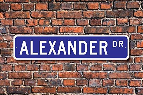 Aersing Home Decor Alexander Schild Geschenk Kind Geschenk Enkelkind Geschenk Geburtstag Geschenk Metall Schild für Outdoor Nutzung Innen Street