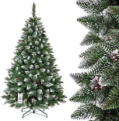 FAIRYTREES Árbol de Navidad artificial PINO, natural blanco nevado, material PVC, pi?as verdaderas, soporte en metal, FT04