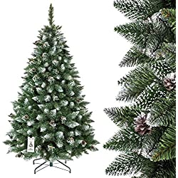 FAIRYTREES Árbol de Navidad artificial PINO, natural blanco nevado, material PVC, pi?as verdaderas, soporte en metal, 180cm, FT04-180