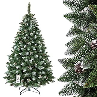 FairyTrees Árbol de Navidad Artificial Pino, Natural Blanco nevado, Material PVC, piñas verdaderas, Soporte de Madera, 150cm, FT04-150
