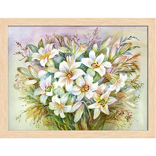 ArtzFolio Lilies Bouquet Canvas Painting Natural Brown Wood Frame 20.8 X 16Inch Bouquet Natural Wood