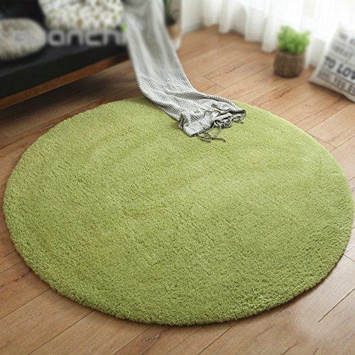 Einfarbig runde teppich / dicke 4 cm teppich / wohnzimmer wohnzimmertisch schlafzimmer nacht teppich / kinder zelt teppich / pet pad / korb stuhlmatte ( Farbe : Grün , größe : Diameter 160cm )