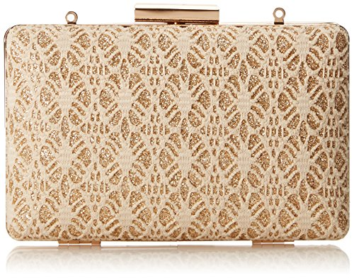 Damara da donna elegante pizzo Hollow Out metallico sera Box Borsa Gold
